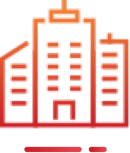 An orange office building icon