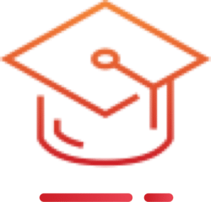 An orange mortarboard hat icon
