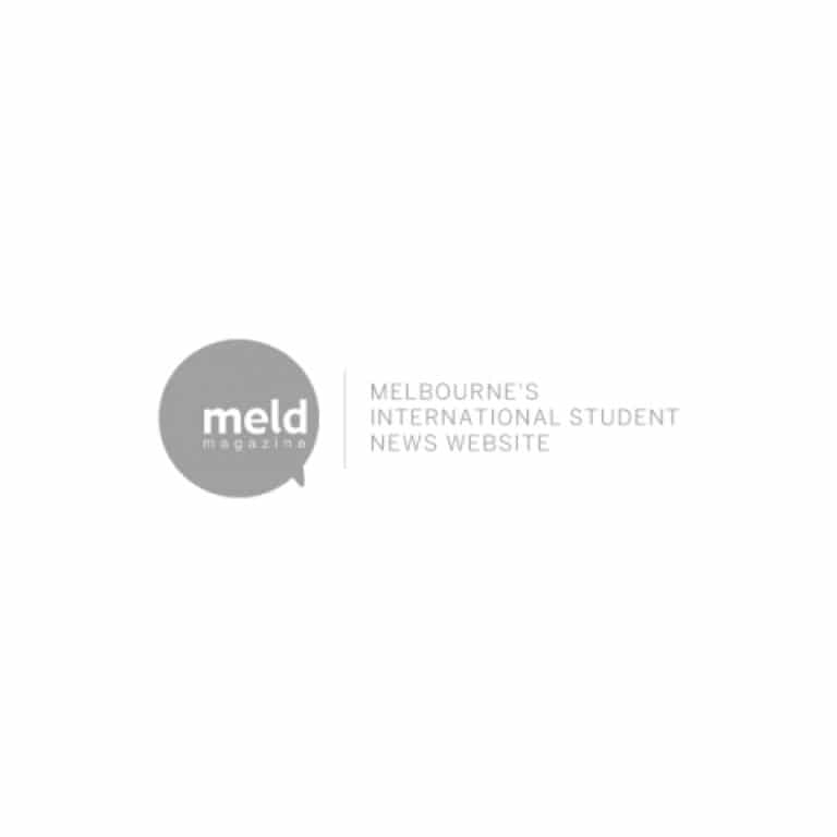 Melbourne's International Student News Website MELD logo in greyscale