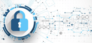 A blue padlock and network connections on a white background
