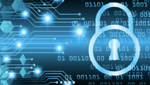 A padlock, network connections and computer binary code on a dark blue background