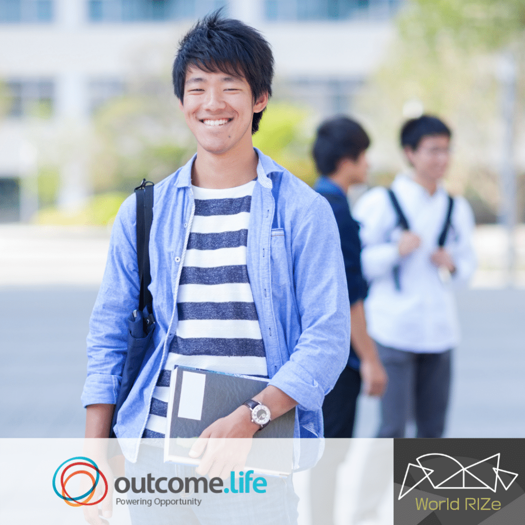 Japanese student smiling. Outcome.Life and World RIZe logos appear underneath.
