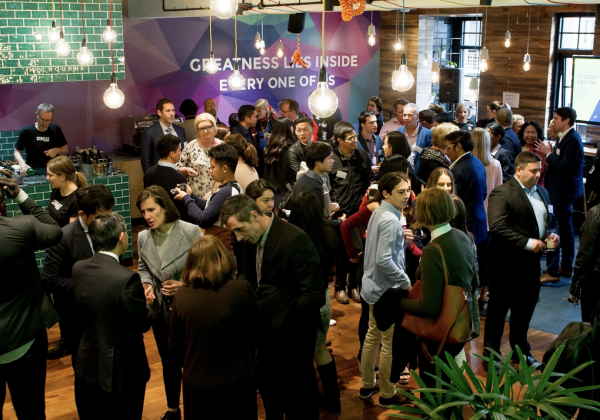 A networking event for international students at the Outcome.Life co-working space